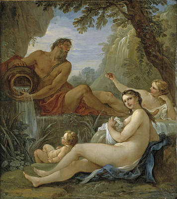 Painting - A River God And A Fountain Nymph by Charles-Joseph Natoire