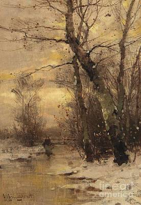 Winter Painting - A River Landscape In Autumn A River Landscape In Winter by Celestial Images