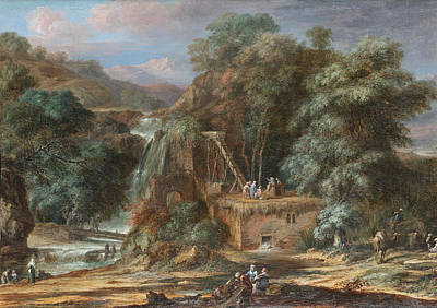 Christoph Ludwig Agricola Painting - A River Landscape With Figures Constructing An Aqueduct Beside Waterfalls Oriental Figures And Camel by Christoph Ludwig Agricola