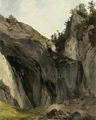 Nature Study Painting - A Rocky Outcrop With Vegetation by Friedrich Gauermann