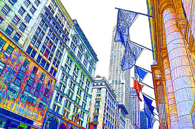 Patriotism Painting - A Row Of Flags In The City Of New York 1 by Lanjee Chee