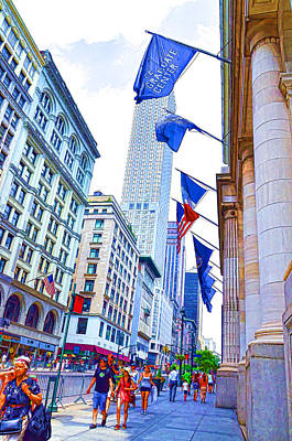 Patriotism Painting - A Row Of Flags In The City Of New York 2 by Lanjee Chee