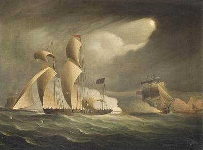 Of Pirate Ship Painting - A Royal Navy Frigate Engaging by Thomas Buttersworth