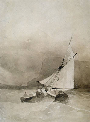 A Sailing Vessel And A Rowing Boat In Rough Seas Print by Richard Parkes Bonington