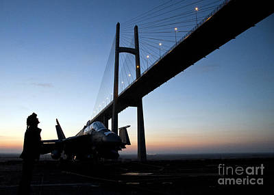Navy Painting - A Sailor Looks Up At The Friendship Bridge by Celestial Images