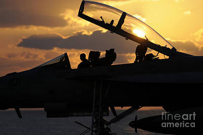 Hornet Painting - A Sailor Performs A Function Check On An F A-18f Super Hornet by Celestial Images
