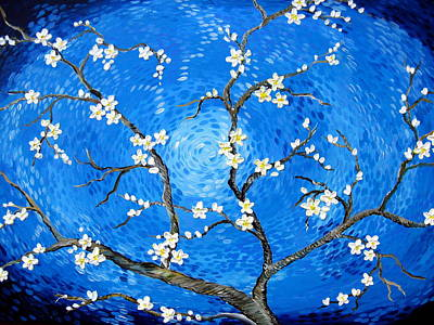 Cherry Trees Drawing - A Salute To Van Gogh by Cathy Jacobs