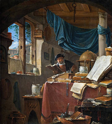 Thomas Wijck Painting - A Scholar In His Study by Thomas Wyck