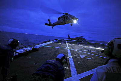 Liberty Painting - A Sea Hawk Helicopter Lands Uss New Orleans Us Navy by Celestial Images