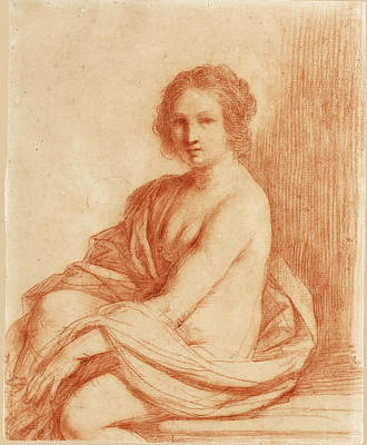 Drawing - A Seated Female Nude Possibly A Study For A Susannah by Guercino