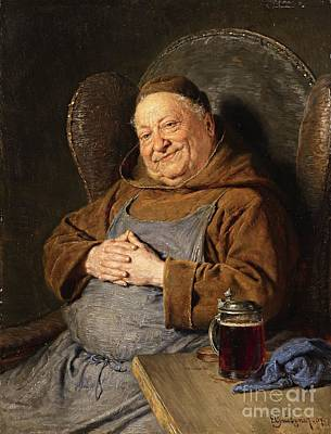 Tankard Painting - A Seated Monk With A Tankard by Celestial Images