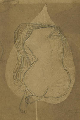 Flowers Drawing - A Seated Nude With Long Hair Within A Leaf by Shawn McFadden