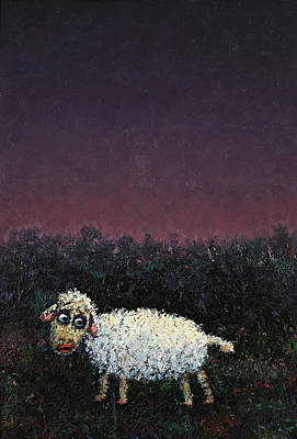 Alone Painting - A Sheep In The Dark by James W Johnson