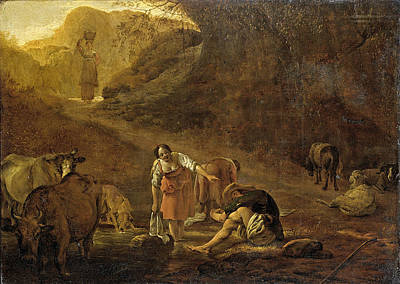 Pieter Van Laer Painting - A Shepherd And A Laundress At A Spring by Pieter van Laer