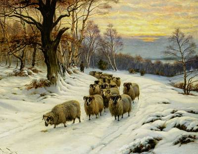 Wright Barker Painting - A Shepherd And His Flock  by Wright Barker