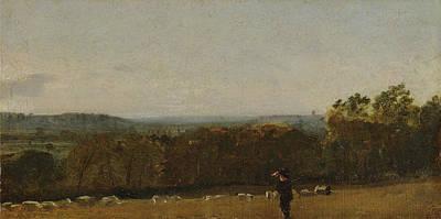 A Shepherd In A Landscape Looking Across Dedham Print by MotionAge Designs