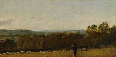 Agricultural Painting - A Shepherd In A Landscape Looking Across Dedham Vale by John Constable