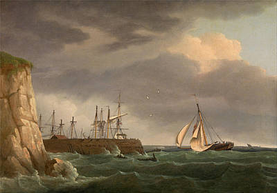 Thomas Whitcombe Painting - A Ship Running Into Harbour With Other Craft At A Jetty by Thomas Whitcombe