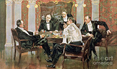 Blue Table Painting - A Showdown by Albert Beck Wenzell