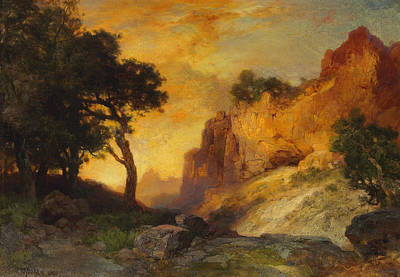 A Side Canyon Print by Thomas Moran