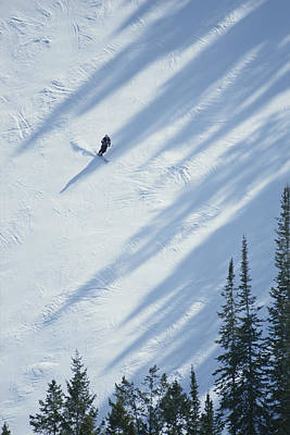 Natural Forces Photograph - A Skier Glides Across A Pine-shadowed by James P. Blair