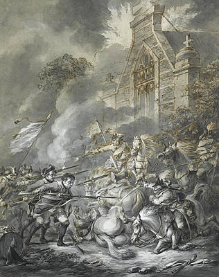 Drawing - A Skirmish Between Cavalry Officers And Footsoldiers With Bayonets by Dirk Langendijk