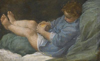 Donato Creti Painting - A Sleeping Boy Holding An Apple by Donato Creti
