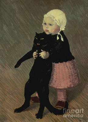 A Small Girl With A Cat Print by TA Steinlen