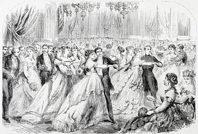 A Society Ball In Paris In The 1860 S Print by Vintage Design Pics
