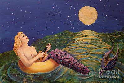 Mermaid Painting - Song Of Love by Linda Queally