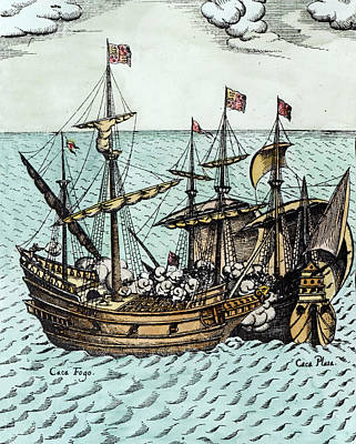 Drake Drawing - A Spanish Treasure Ship Plundered By Francis Drake by Dutch School