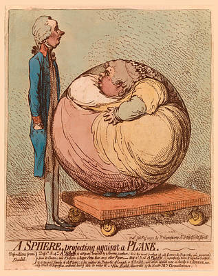 James Gillray Drawing - A Sphere Projecting Against A Plane by James Gillray
