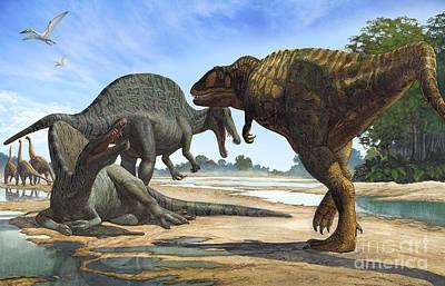 A Spinosaurus Blocks The Path Print by Sergey Krasovskiy