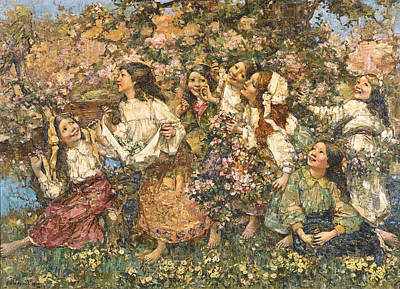 Edward Atkinson Hornel Painting - A Spring-time Rondeley by Edward Atkinson Hornel