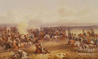 Conflict Painting - A Squadron Of The 10th Hussars Defeat The Russians At Tchernaya by Orlando Norie