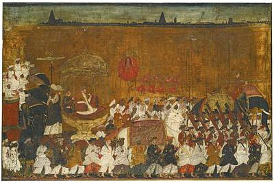 Tanjore Painting - A State Procession Of Raja Tulsaji by Eastern Accents