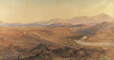 Mountain Drawing - A Steam Train On The Ottoman Railway by David Hall McKewan
