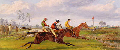 Sports Painting - A Steeplechase  by Thomas Henry Alken