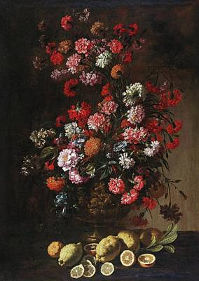 1730 Painting - A Still Life Of Citrus Fruit And Flowers In An Elaborately Decorated And Gilded Vase, by Bartolomeo Bimbi