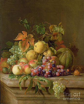 Ledge Painting - A Still Life Of Melons Grapes And Peaches On A Ledge by Jakob Bogdani