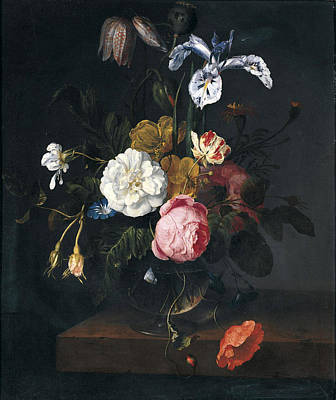 Print Of Irises Painting - A Still Life Of Roses Poppies Ranunculus Fritillaria Geranium Iris And Other Flowers In A Glass Vase by Cornelis Kick