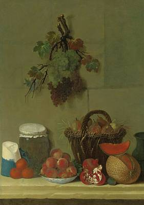 A Still Life With A Wheat Lined Basket Of Pears Print by Charles Oudry