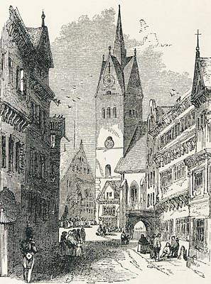 Capital Cities Drawing - A Street In Hanover, Lower Saxony by Vintage Design Pics