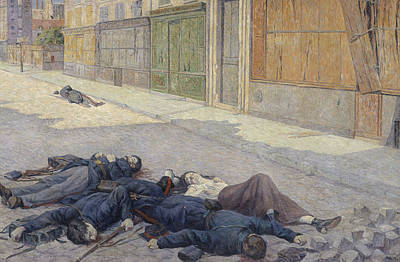 A Street In Paris In May 1871 Print by Maximilien Luce