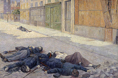 Maximilien Luce Painting - A Street In Paris In May 1871 by Maximilien Luce