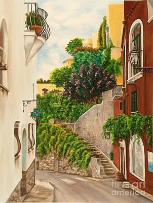 Italian Street Painting - A Street In Positano by Charlotte Blanchard