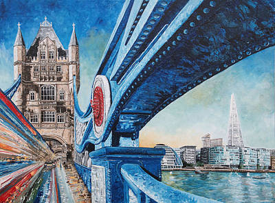 Shards Painting - A Stroll Across Tower Bridge by Diane Griffiths