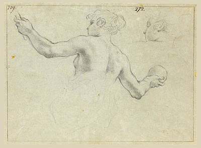 Drawing - A Study For A Female Allegorical Figure And A Separate Study For Her Head by Antonio Domenico Gabbiani