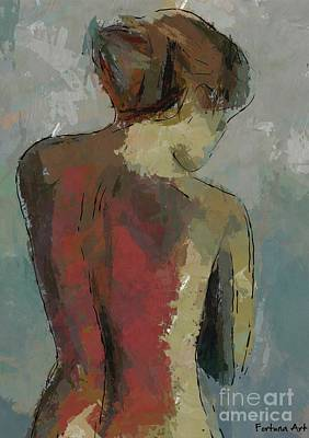 Minimalism Painting - A Study Of A Standing Nude by Dragica Micki Fortuna