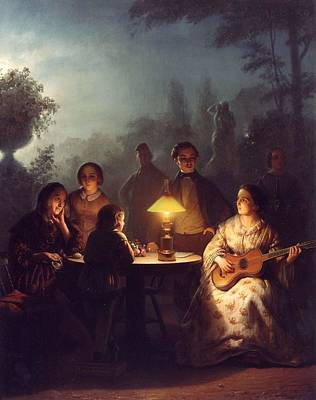 A Summer Evening Painting - A Summer Evening By Lamp by Petrus van